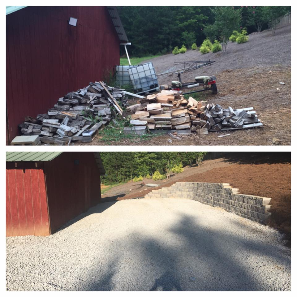 Before and After usable space with black retaining wall